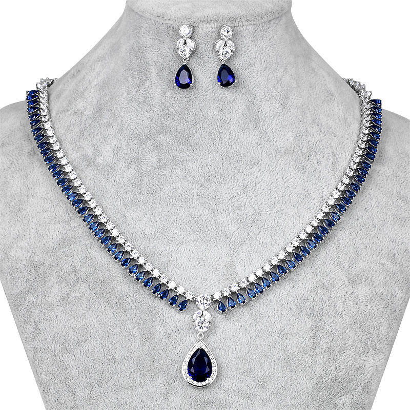 WEIMANJINGDIAN Brand High Quality Cubic Zirconia Necklace And Earring Bridal Jewelry Set In Assorted Colors