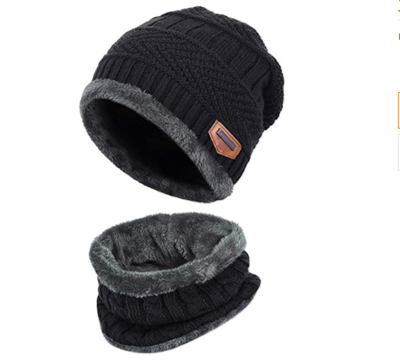 2-Pieces Winter Beanie Hat Scarf Set Warm Knit Hat Thick Fleece Lined Winter Hat & Scarf