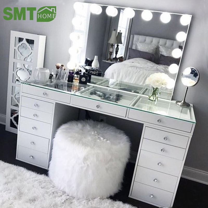 home furniture wooden dressing table makeup designs mirror with drawer set modern white