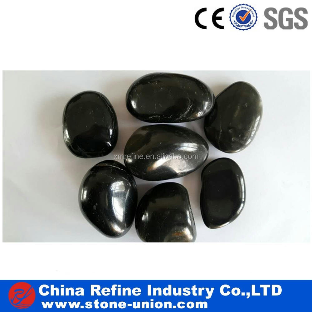 round landscaping black polished pebbles