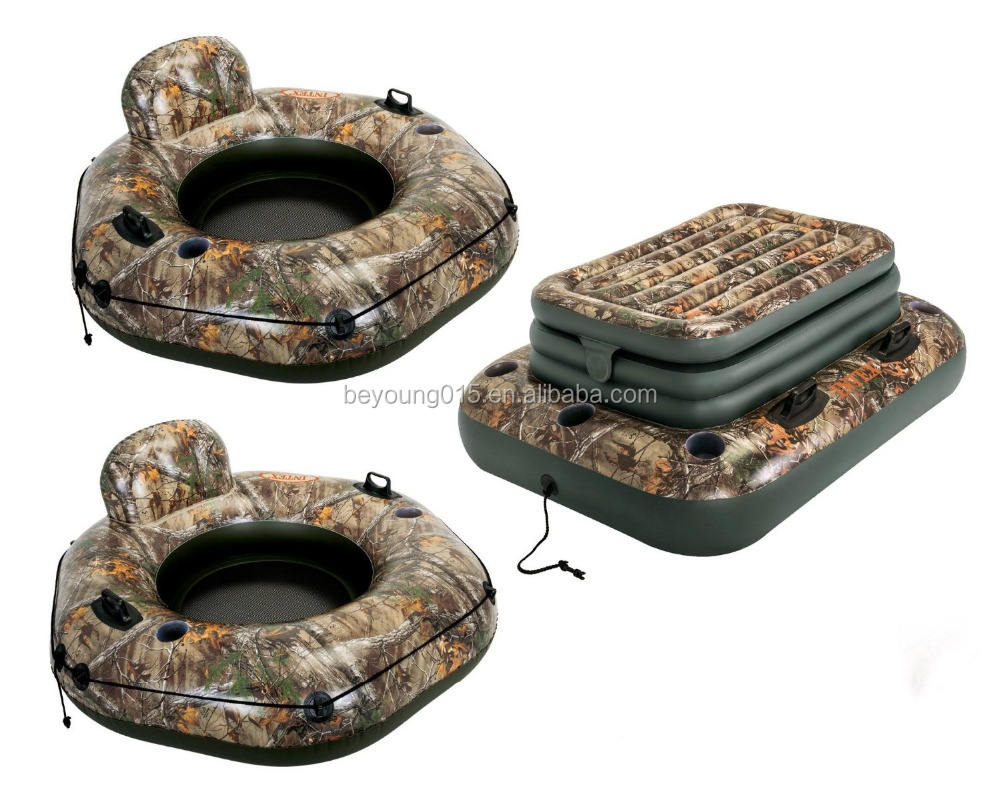 Intex Realtree River Run Tube Inflatable Floating Lounge Raft 2-Pack and Cooler