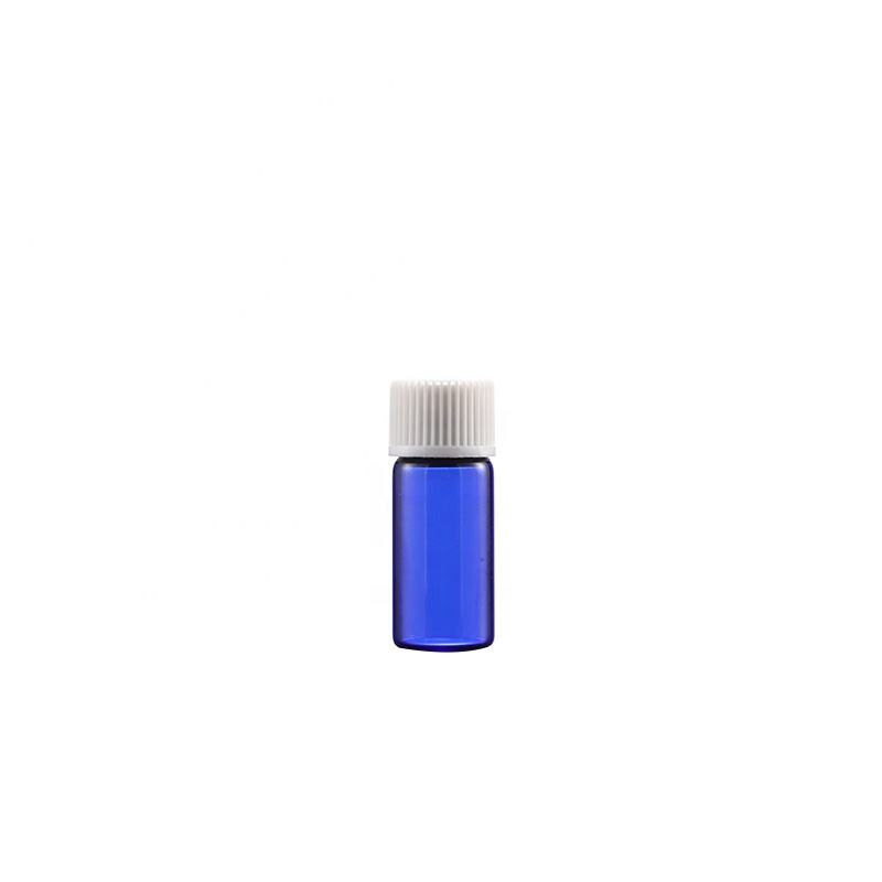 Wholesale custom essential oil glass bottle 2ml 3ml 5ml 10ml 12ml mini sample blue glass vial with Inner plug and screw cap