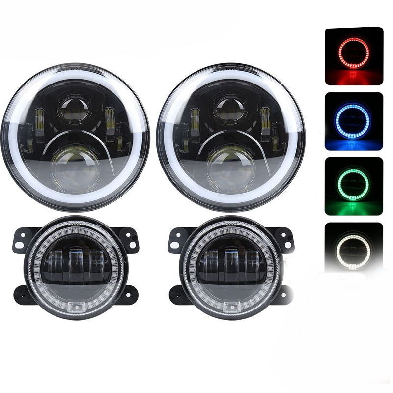 New RGB sets of 4 inch Fog light And 7 inch RGB Headlight Dot e9 mark approved RGB Halo Ring for Jeep Wrangler bluetooth control