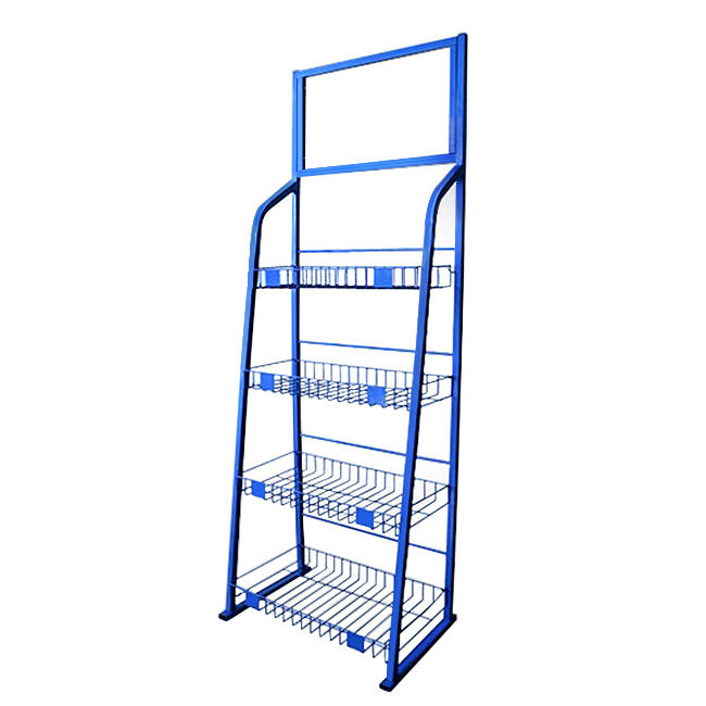 Iron Wire Basket Floor Shelf Supermarket Merchandise Promotion Display Collection Rack