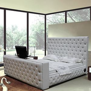 King size leather bed with automatic tv lift tv bed frame on sale G922