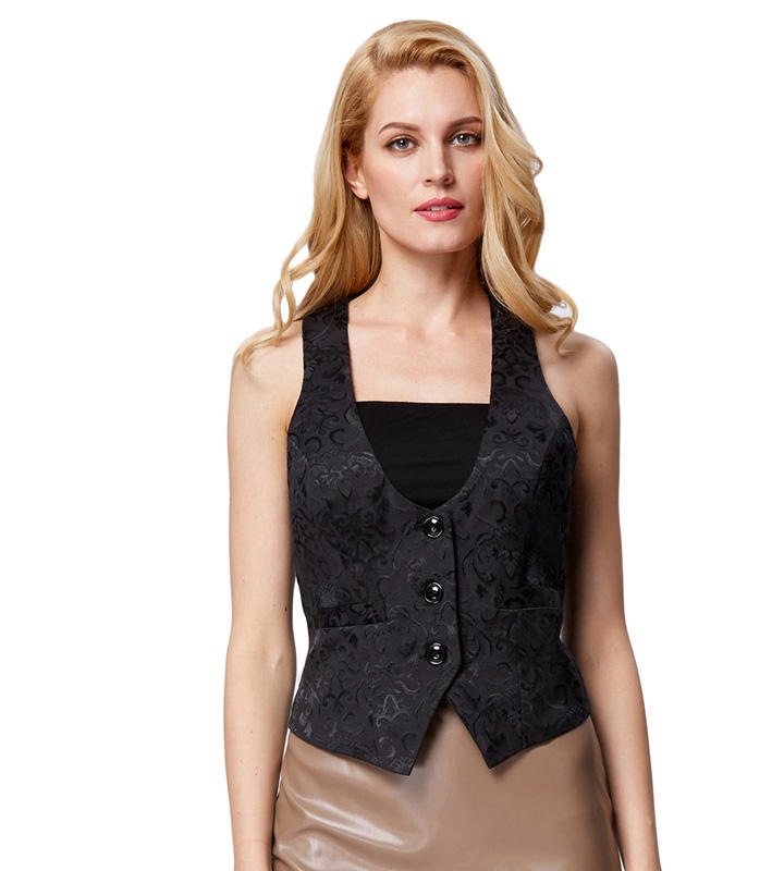 Grace Karin Strap Jacquard 3-Buttons Adjustable Waistcoat Women Vest