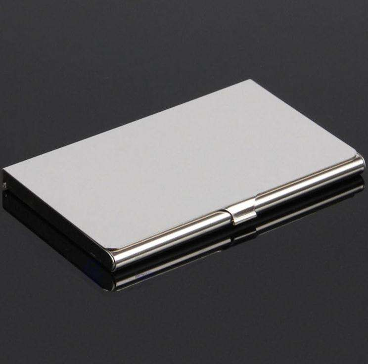 Hot Silver Pocket Business Name Credit ID Card Holder Metal Aluminum Box Cover Case wholesale