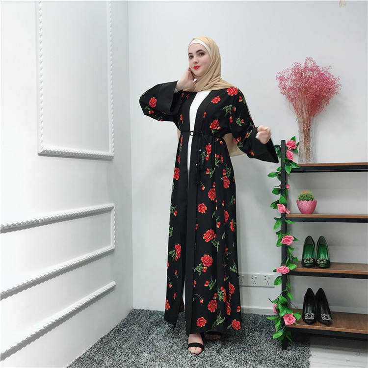 Red flower printing moroccan style open abaya dubai