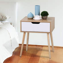Multifunctional home furniture white wood bedside cabinet table with drawer