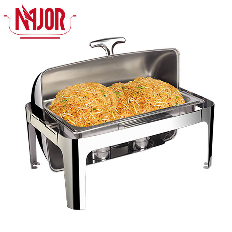 Non magnetic 201 1/1 Food Pan Buffet Food Warmer Chafing Dish Roll Top Stainless Steel Lid 9qt 9L Rectangle Chafer