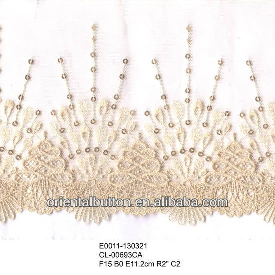 Flower pattern embroidery lace trimming for women