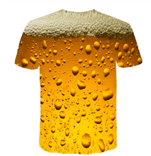 men's Quick dry net cloth  man/women style beer bubble digital print T-shirt men's wear sport undershirt