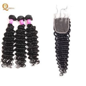 10A Unprocessed Remy Raw Brazilian Wholesale Virgin Human Hair Deep Wave Bundles With Closure
