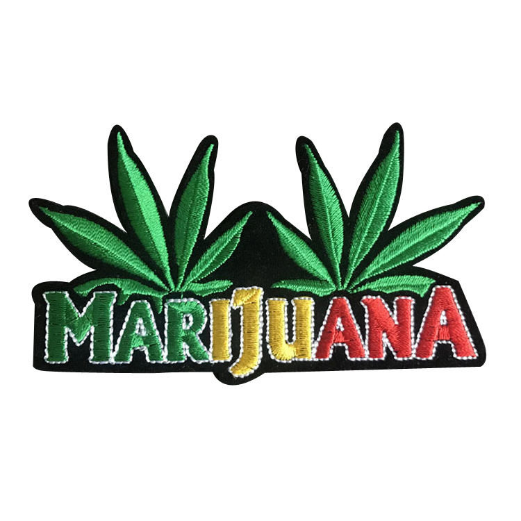 Wholesale In Stock DIY Custom Patches Marijuana Hemp Plant Leaf Weed Embroidered Patch