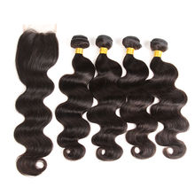 Free Sample 10 Inch Brazilian Body  Wave Hair Bundles With Closure,raw unprocessed wholesale 100 virgin Brazilian hair