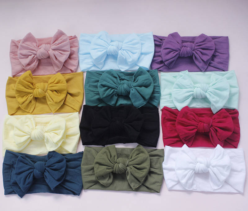 2019 Knot Bows Wide Nylon Headbands,Double Bows Elastic Stretchy Turban Hairbands Baby Girls Hair Accessories