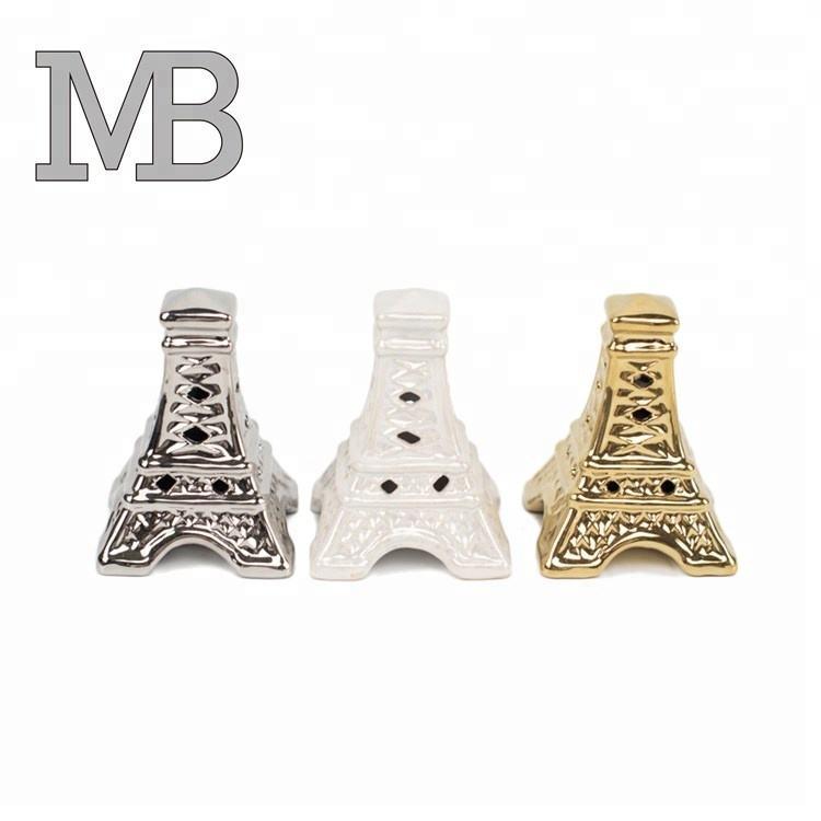Personalizado hecho a mano chapado en oro Torre eiffel forma <span class=keywords><strong>casa</strong></span> decoración porcelana adornos