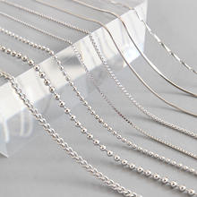 Wholesale 925 Sterling Silver Ball Boxed Side Snake Bone Box Cross Melon Seed Necklace Chains Long Chain Short