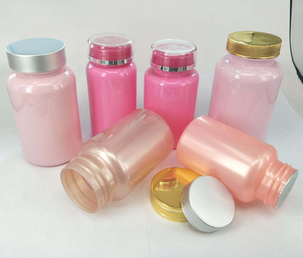 300cc New Pink PET Plastic Supplement Pills Packaging Bottles