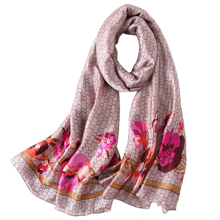 Fashion Custom Long Silk Scarves Shawls Ladies Wholesale Flower Print Silk Satin Scarf For Women