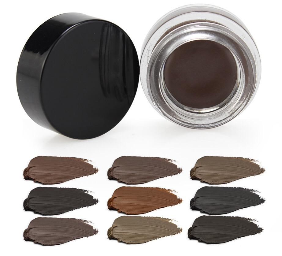 Wholesale private label 10 color bottled super waterproof eyebrow/eyeliner cream brow pomade 7g cream eyebrow
