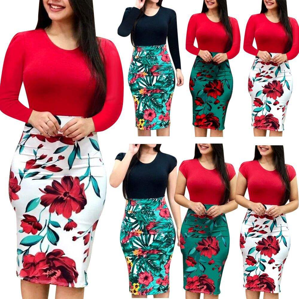 Ecowalson Ladies Long Sleeve Floral Boho Women Party Bodycon Dress