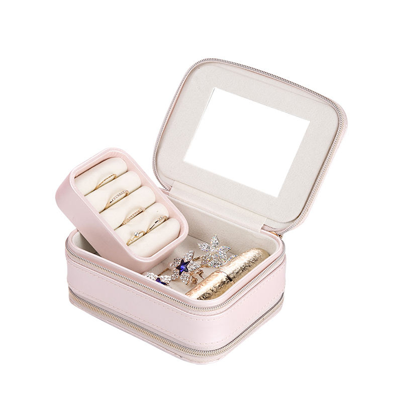 Custom Logo Printed Small Travel Jewelry Box With Two Zippers Ring Earrings Necklaces Jewelry Box Organizer Display Storage Case
