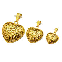 filigree cage locket stainless steel gold plated chinese couple love fashion heart pendant