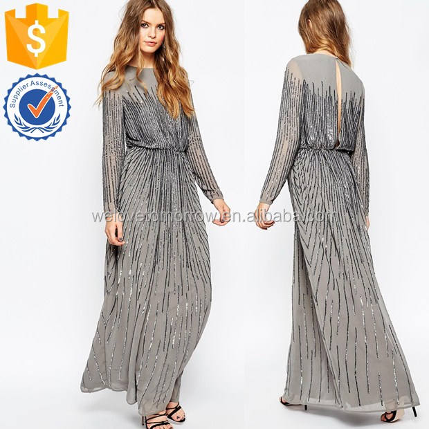 Wholesale women long sleeve sequin long sleeve maxi dress for celebrity ladies