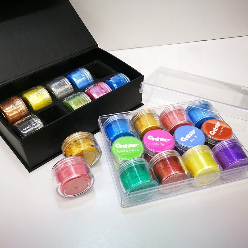 12 colors, 24 colors, 36 colors mica powder set in 5g, 10g, 15g, 20g plastic bottle for soap making, bath bomb, slime, epoxy