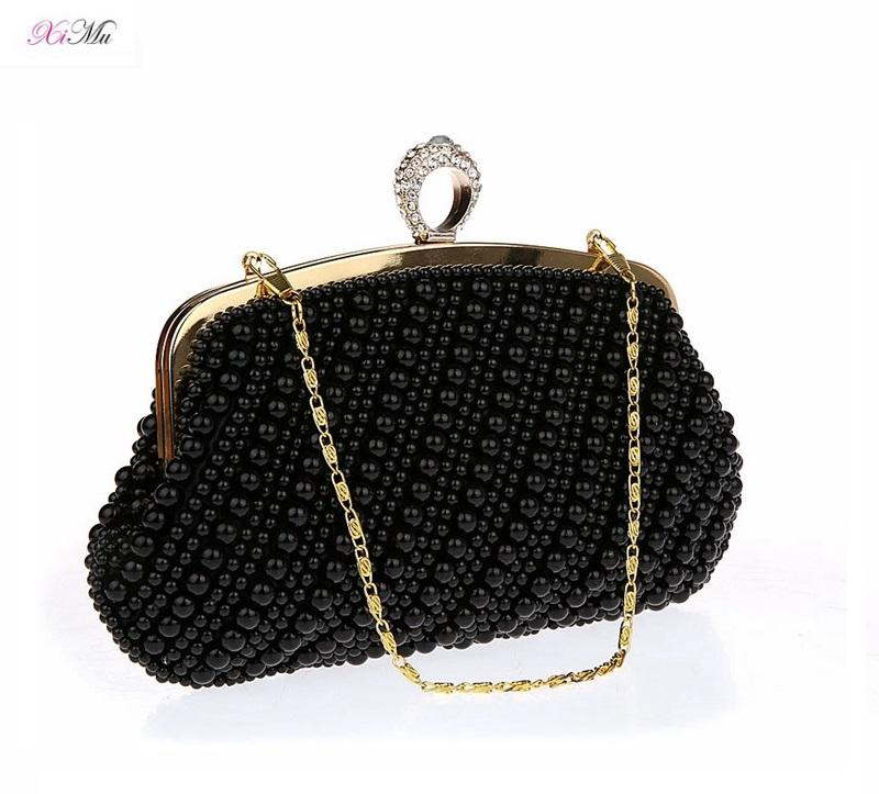 Factory Customized Noble Handmade Pearl Rhinestone Party Evening Clutch Bag Wedding Purse