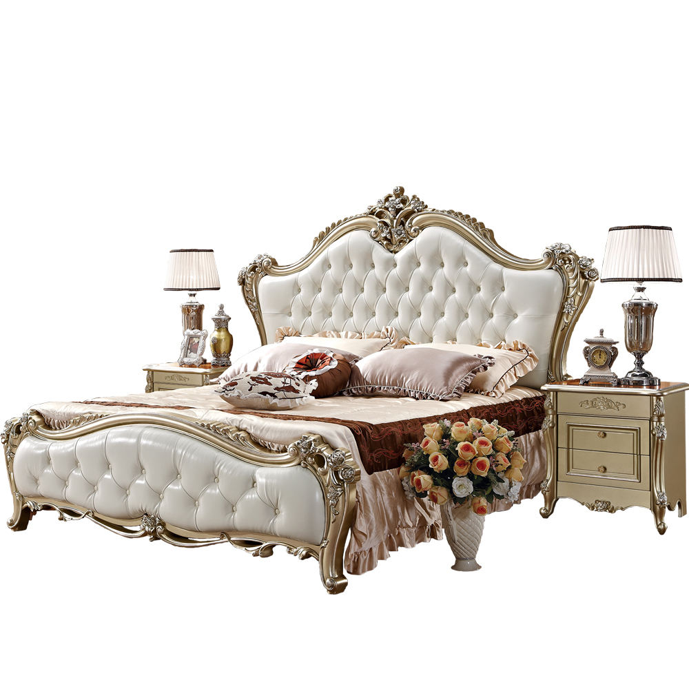Factory Custom King Size Furniture Bed Classical Luxury Antique Bedroom Sets