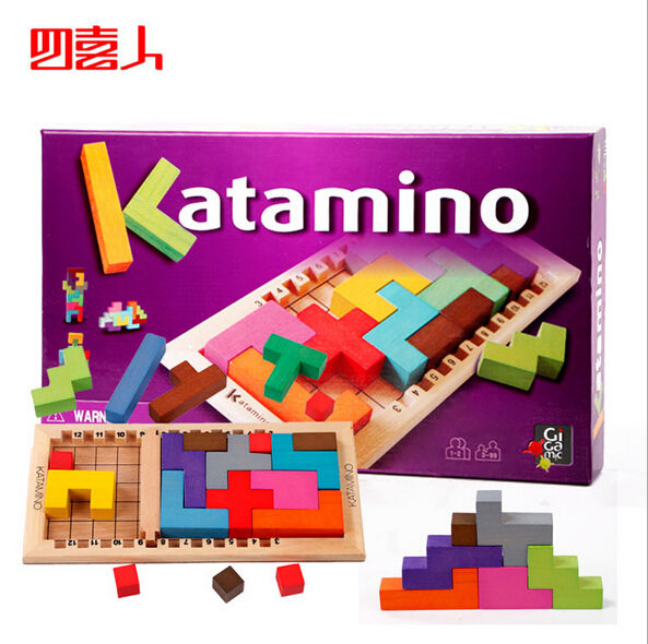 New design Wooden Tetris Katamino toys Cartagena Camino challenge wood building blocks intelligence toy