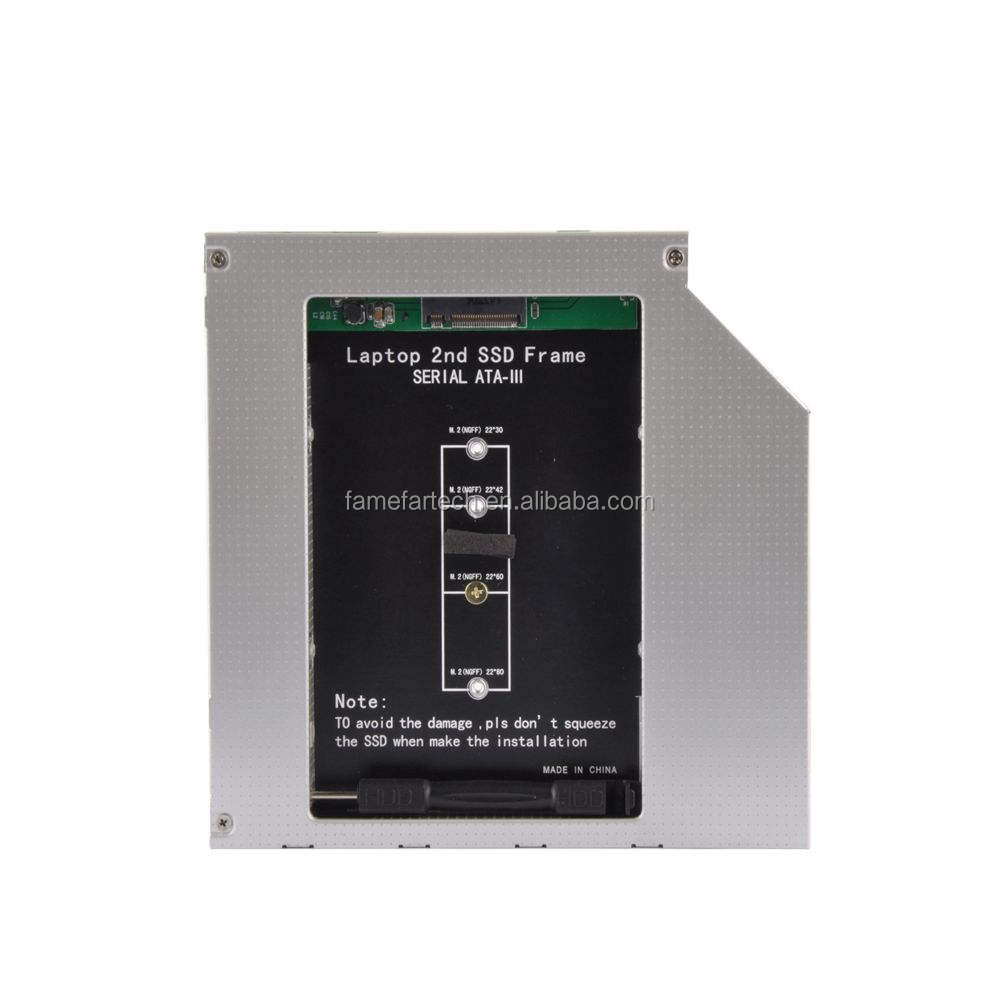 Alluminio NGFF M.2 M2 2nd <span class=keywords><strong>HDD</strong></span> <span class=keywords><strong>Caddy</strong></span> 9.5 millimetri SATA 3 Optibay Hard Disk Enclosure Adapter DVD <span class=keywords><strong>HDD</strong></span> 2.5 SSD caso Per Il Computer Portatile