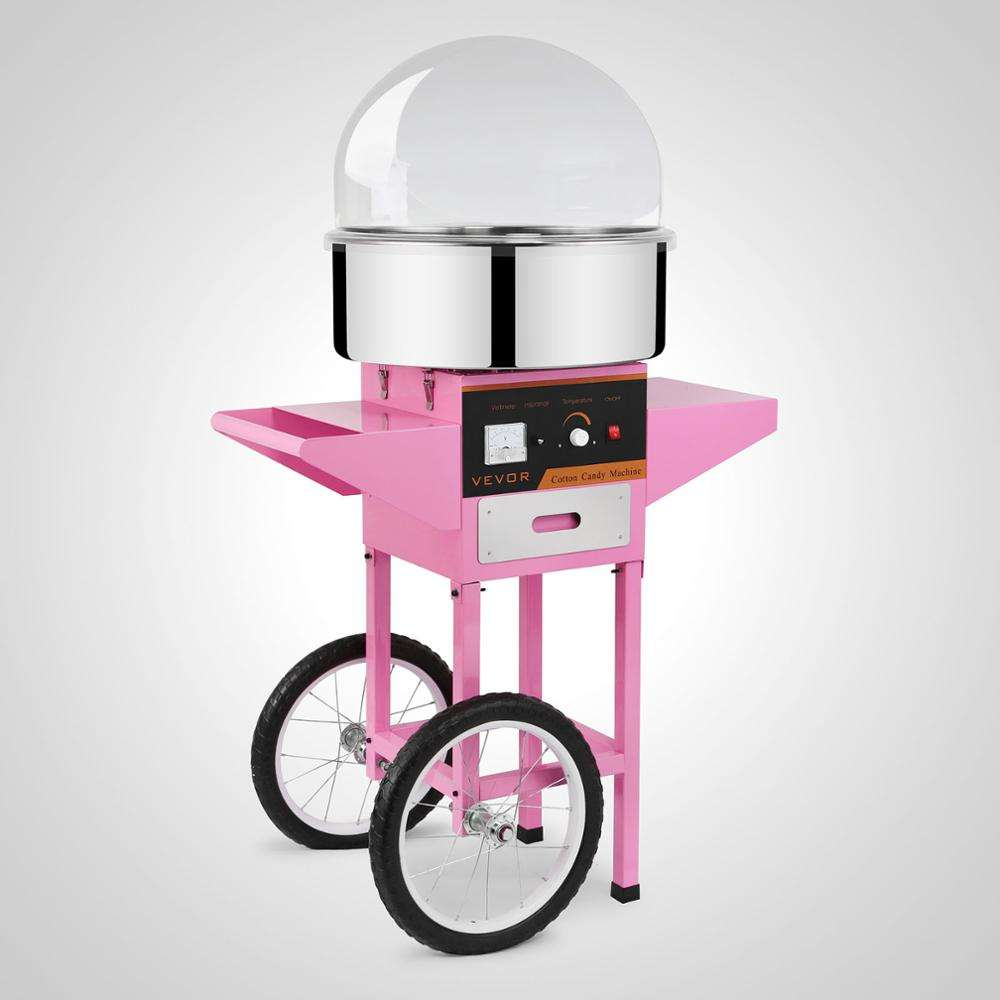 Shipping free Commercial Electric Cotton Candy Machine Floss Maker Pink with Cart Stand & Cover
