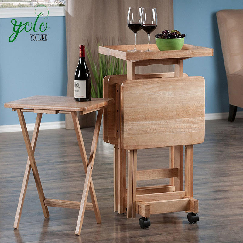 Foldable 6 Piece Wood Desk,Removable Bamboo Table Set With Serving Tray And Stand On Wheels Portable Furniture