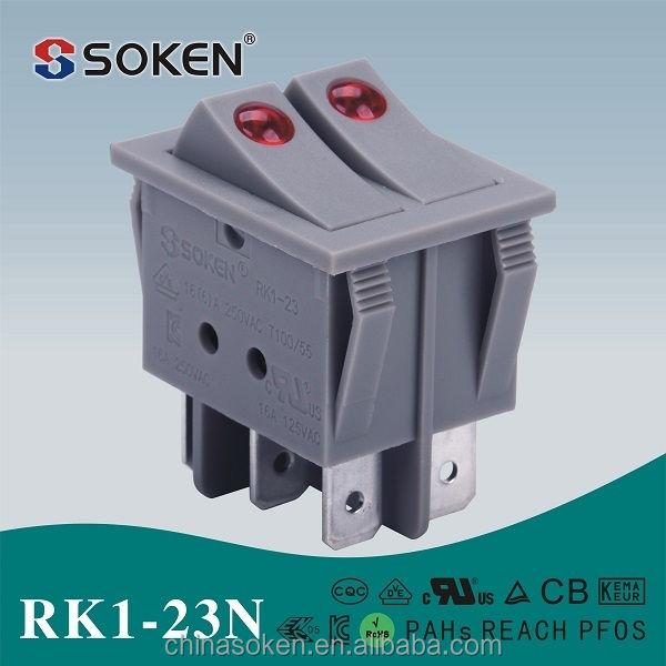 뜨거운 판매 soken 온/ 오프 SPST/ SPDT 250V 16A 점 로커 스위치 오븐/ 히터