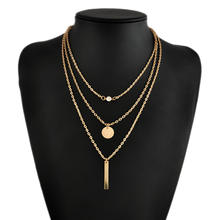 Hotsale fashion necklaces low MOQ simple metal necklace jewelry for women