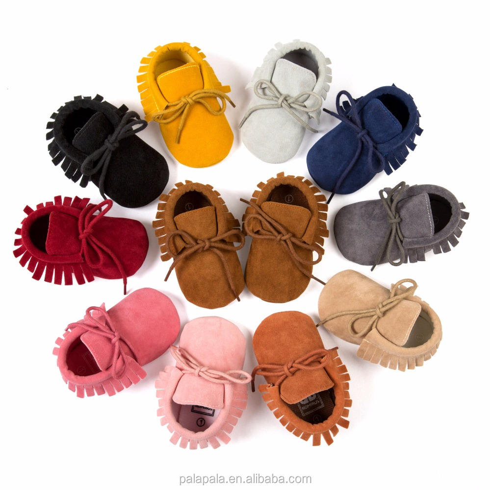 suede leather baby moccasins handmade tassels soft bottom non-slip baby toddler newborn shoes lace up baby booties