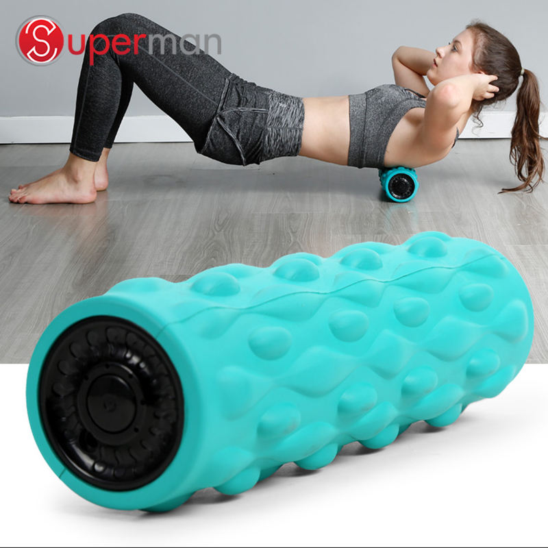 new product four Speed Electric Yoga LED Vibrating foam roller for muscle massage fitness electric yoga massage
