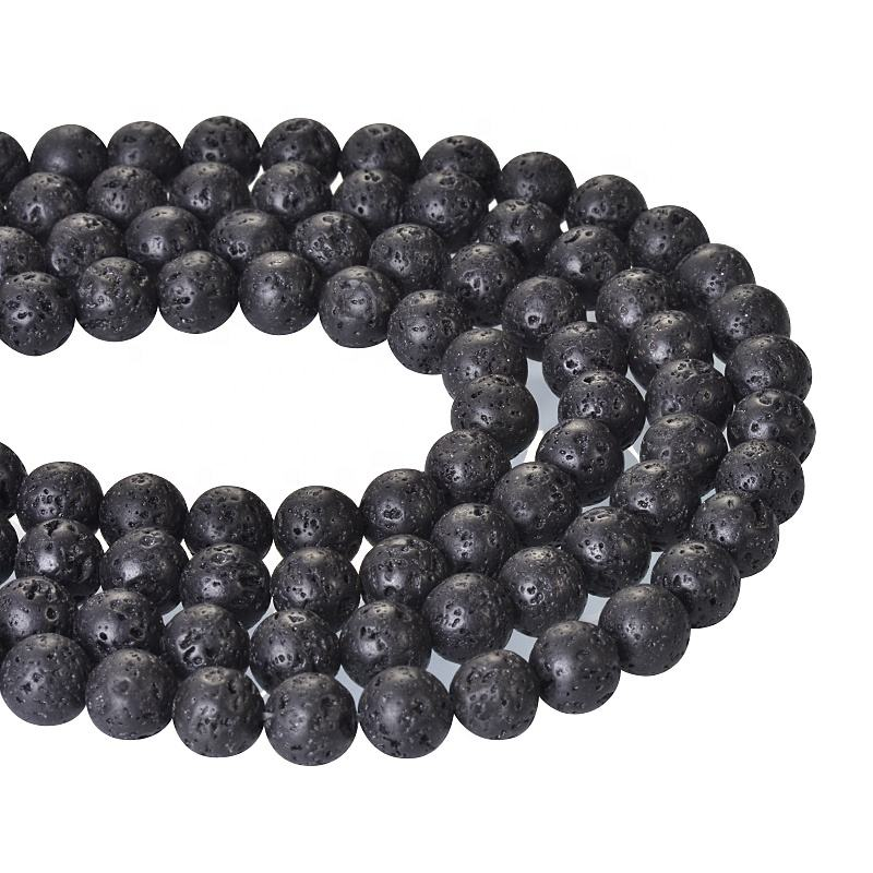 Cheapest Lava Pumice Rock Stone Beads Wholesale Natural Gemstone Black Lava For Bracelet Jewelry Making Stone Beads