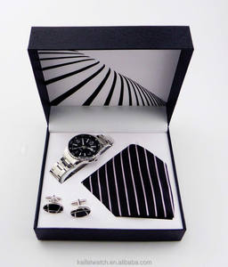 custom cheap luxury watch cufflinks tie gift set