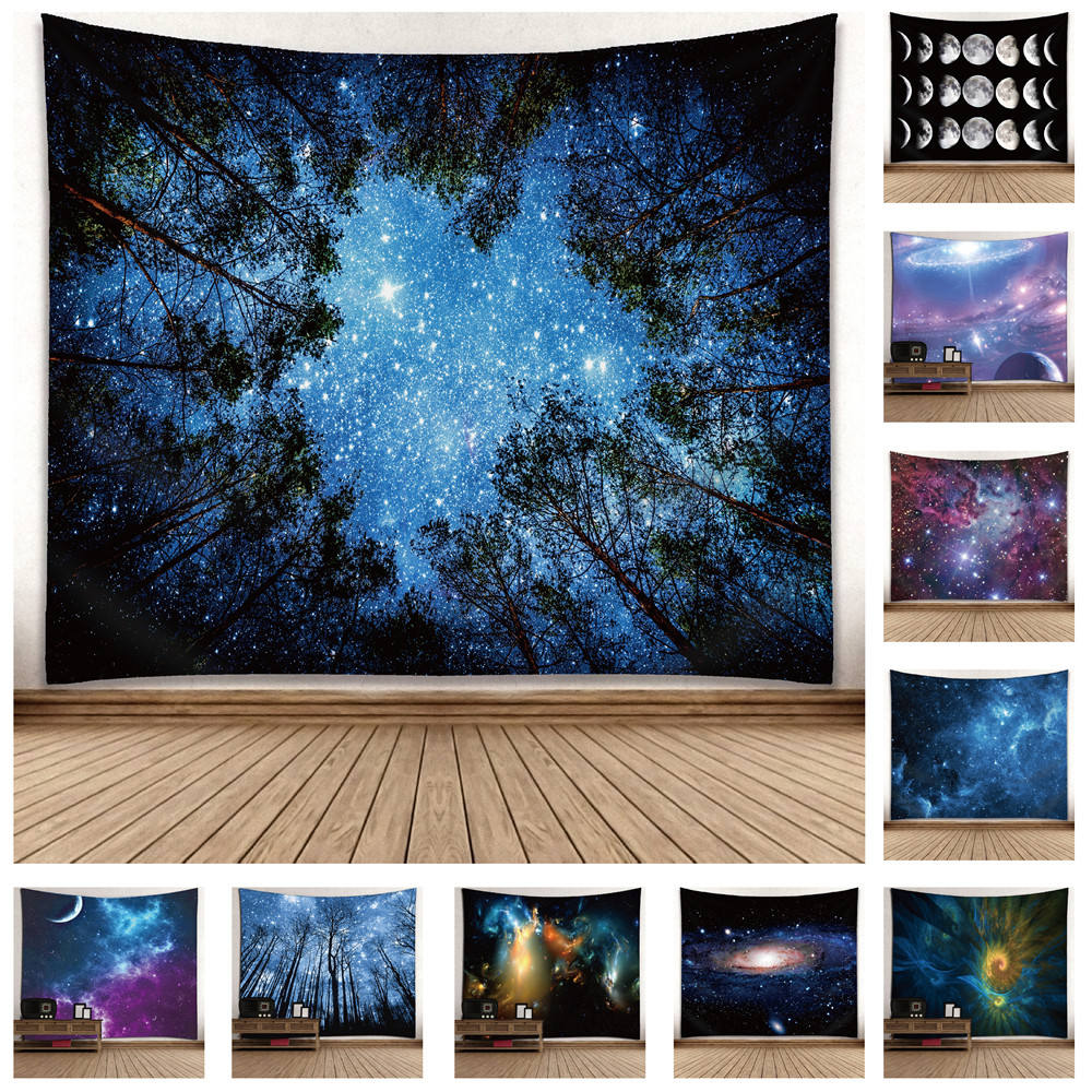 Microfiber Polyester Starry Night Space Wandtapijt 60*51Inch