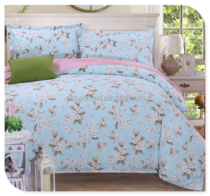 China manufacturer 100 percent polyester textile material fabric brushed and printed for bedding set
