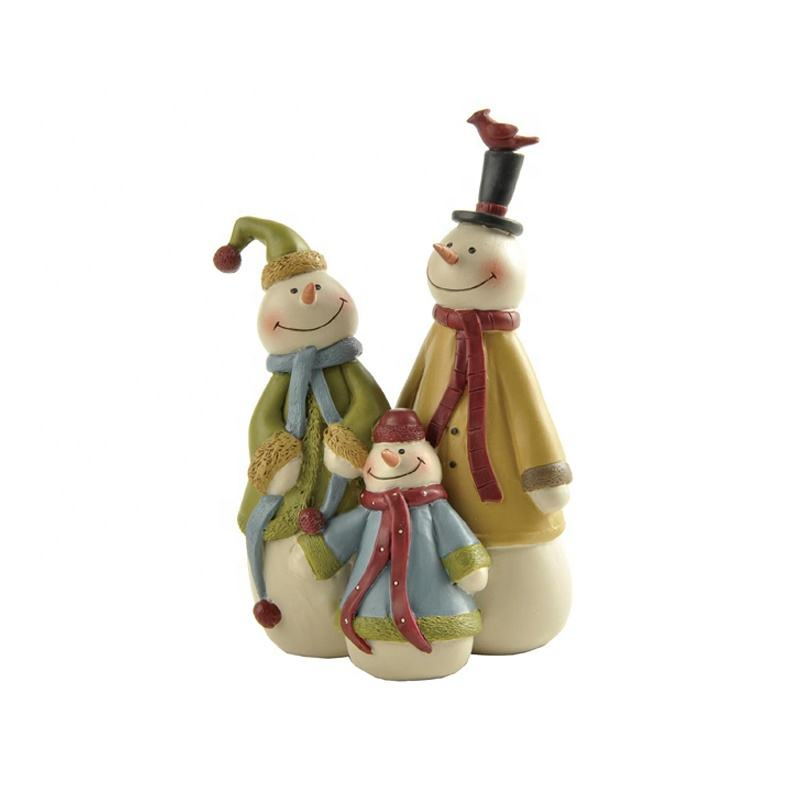 "4.45"" Tall Holiday Christmas Decorative Family Snowman Figurines Resin Figure Snowman Doll"