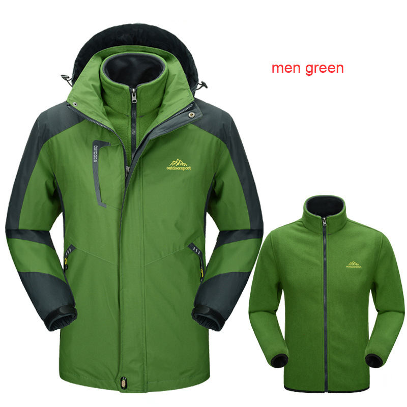 Mens 3 in 1 Jacket With Waterproof Windproof With Inner removable Fleece Jacket outdoor clothing brands jackets