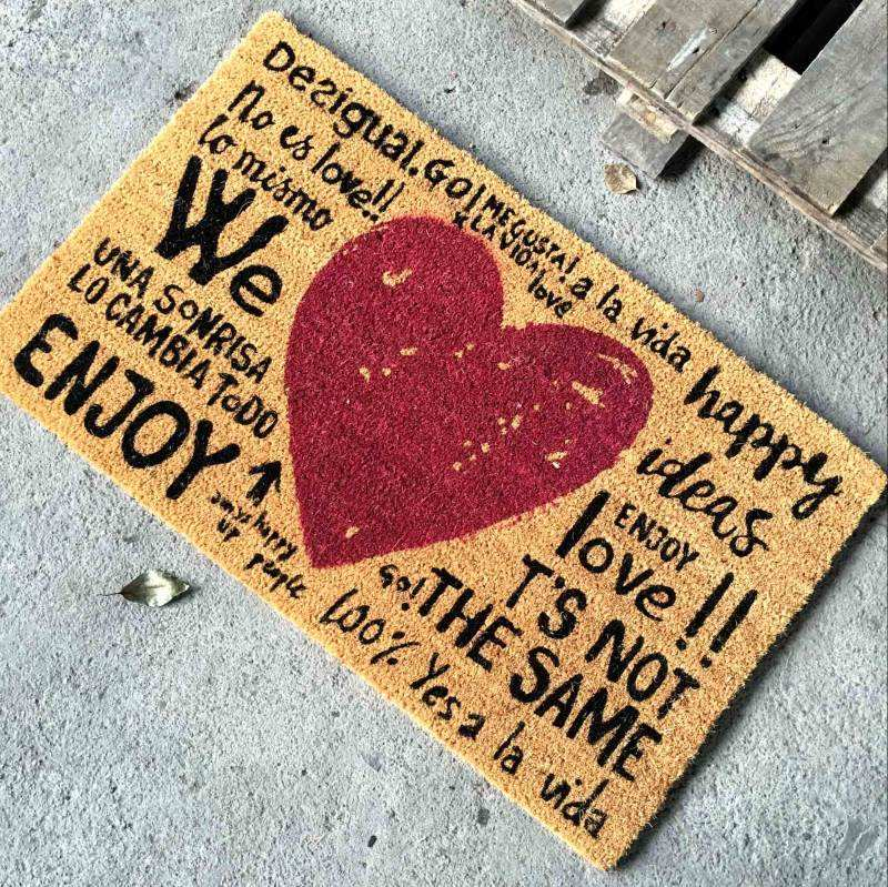 Espanol Spanish Heart Love Design Coir Door Mats Printed