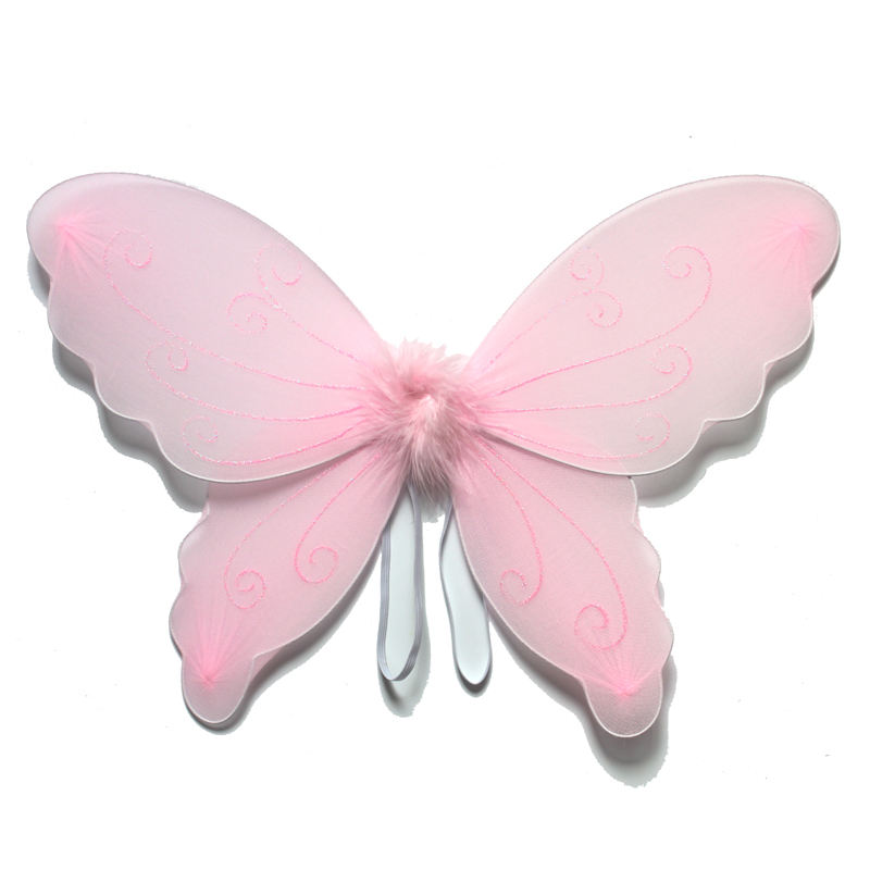Light pink color glitter printing Nylon Butterfly wings decoration