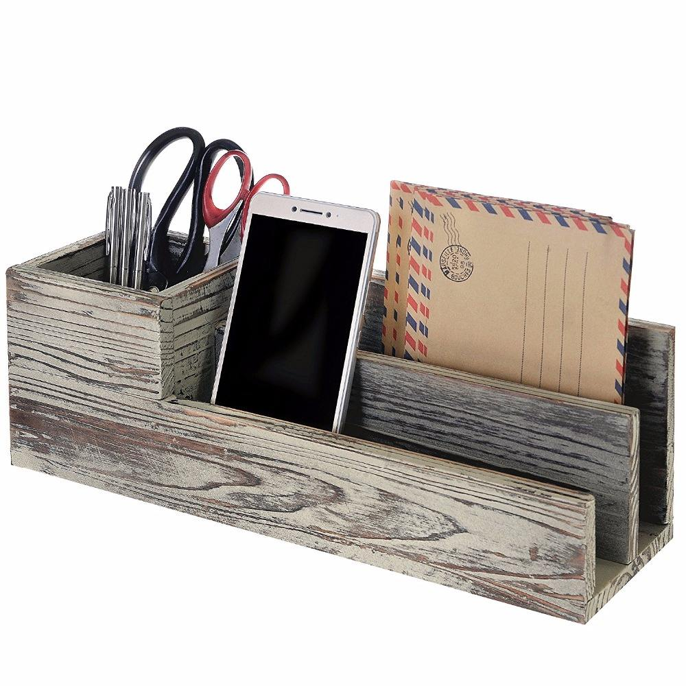 Rustic Torched Wood Desktop Office Supplies Caddy & 2 Slot Letter Mail Sorter Organizer
