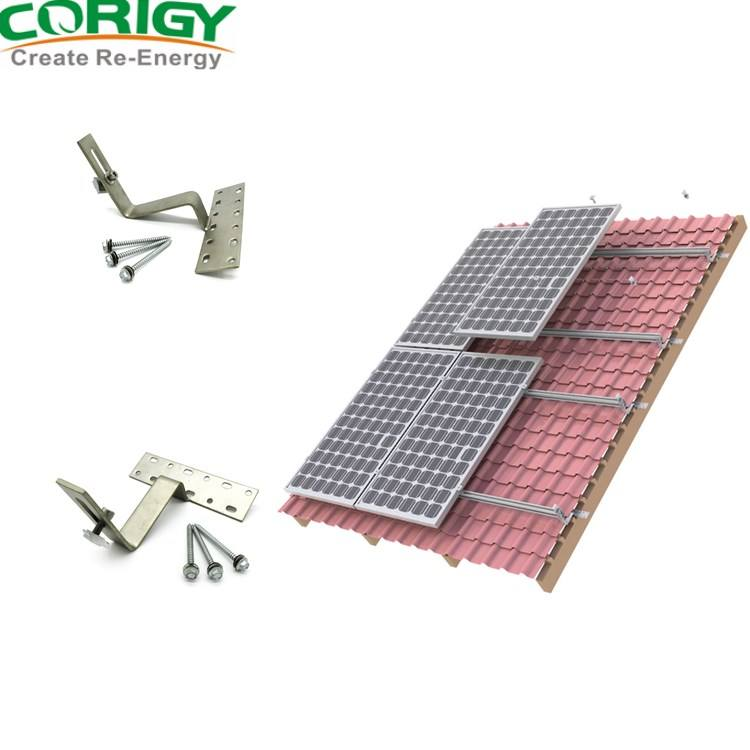 Customize Aluminum Pitched Tile Solar Panel Roof Mounting Brackets Structure
